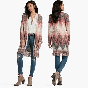 LUCKY BRAND Chevron Fringe Duster-Size Small